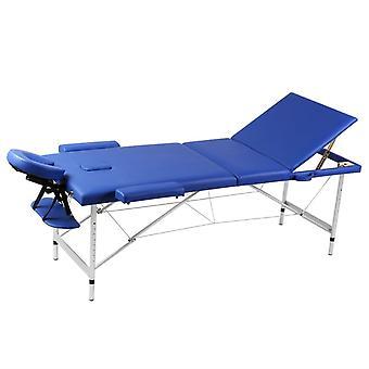 Mesa de masaje con marco de aluminio, plegable 3 zonas azul