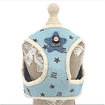 S azul cão coleira de estimação quadrado peito para trás colete de pelúcia coleira x5052