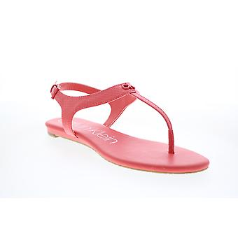 Calvin Klein Adult Womens Shellie Mini Python Patent Smooth Slingback Sandals