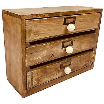 Solid Wood Trzy szuflady Desktop Organizer 28cm