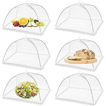 6 confezioni di coperture per tende da picnic da picnic, coperture per alimenti con schermo in rete pieghevole (bianco)