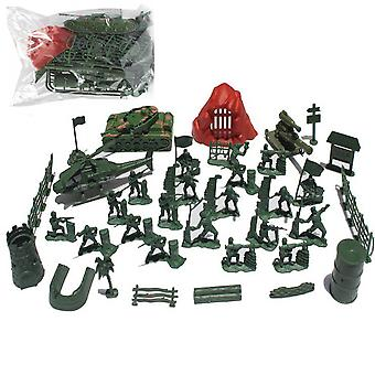 36pcs World War Army Soldiers With Base Toyset Plane Cover Battlefield Figures