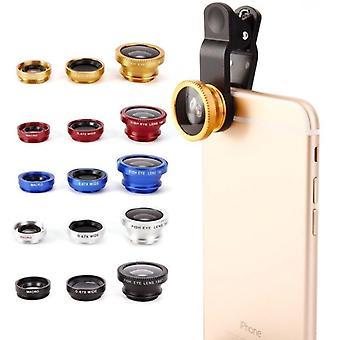 Laajakulma makro fisheye linssit 3 sisään 1 kameran linssi sarjat Clip Zoom Mobile