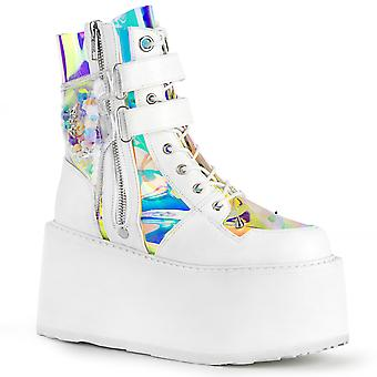 Demonia Women's Boots DAMNED-115 Wht Vegan Leather-Clear Hologram PVC