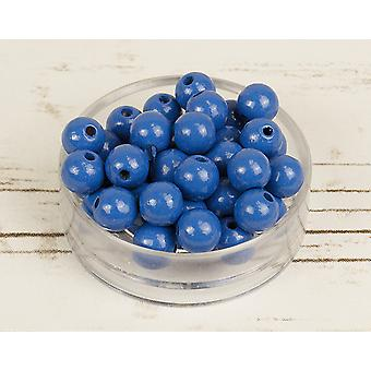 10mm midden blauwe houten Threading kralen volwassenen ambachten - 53pk