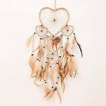 Ei, ei, ei. Sydämen muotoinen höyhen unelma sieppari seinä koti makuuhuone roikkuu sisustus koriste