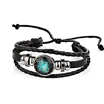 Constellations Couple Retro Weave Bracelets Leather Beads Bangle Bracelet Capricornus