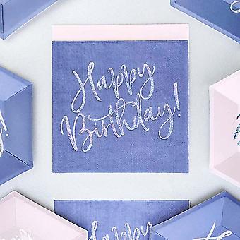 Blue Iridescent Happy Birthday Paper Party Napkins x 20