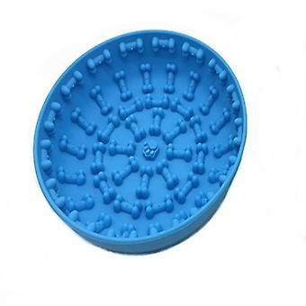 Hund langsam Feeder Schalen mit Saugnapf Lick Matte Pet Pad Angst Lebensmittel Spender Spielzeug Fütterung(Blau)