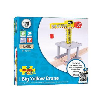 Toy trains train sets bigjigs rail magnetic big yellow crane - other major wooden rail brands are compatible