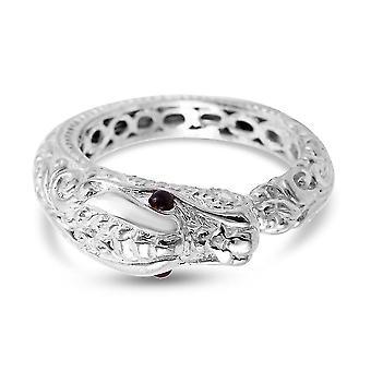 TJC Garnet Snake Ring in Sterling Silver Animal Lover Gift 0.1ct