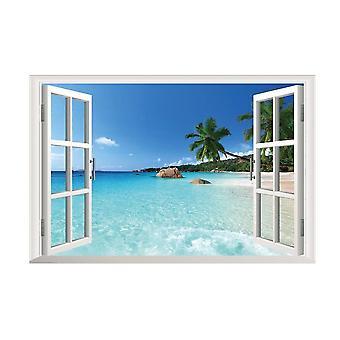 Beach 3d Window View Removable Wall Sticker