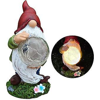 GartenZwerg Garten Figur Lustige Gartenzwerge Beflockter Gnom mit Glaskugeln für ornamentales Geschenk Außenbeleuchtung Terrasse