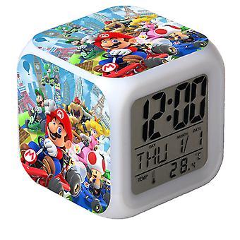Super Mario Colorido Cambio de Color Despertador Led Animación Dibujos Animados Regalo Reloj Despertador