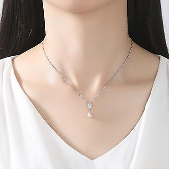 Real 925 Silver Box Chain AAA Zircon Pearl Necklace Pendant Natural  Gift|Necklaces