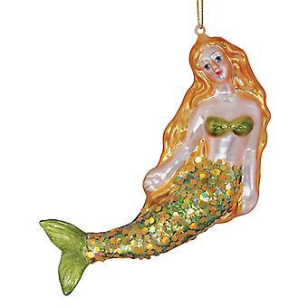 Pretty Mermaid Dreams Blown Glass Christmas Holiday Ornament Cape Shore