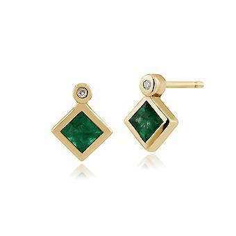 Klassische Quadratische Smaragd & Diamant Lünette Set Ohrstecker in 9ct Gelbgold 135E1224019