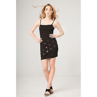 Mujer de primavera/verano vestido negro fuente ANAND 2.0