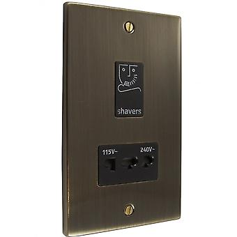 Causeway Dual Voltage Shaver Socket Outlet, Antique Brass