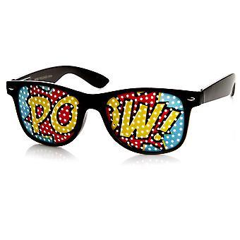 POW Art silmän linssi Classic värikäs Horn reunustetut Poker Face POW aurinkolasit