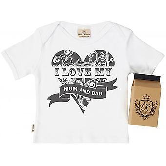 Spoilt Rotten I Love Mum & Dad Toddler T-Shirt 100% Organic In Milk Carton