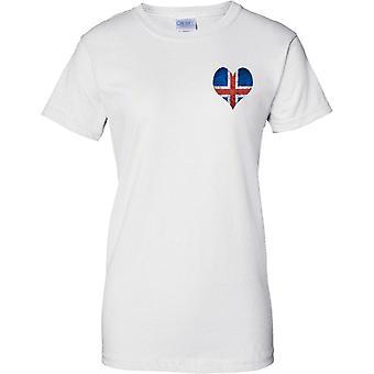Icleand Flag Liebe Herz Grunge-Effekt - Damen Brust Design T-Shirt