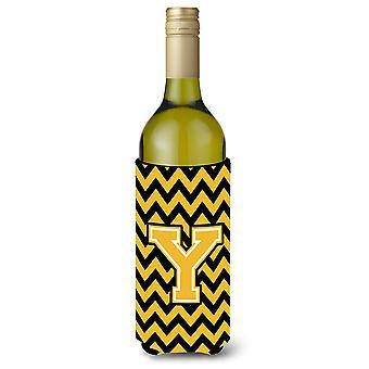 Letter Y Chevron Black and Gold Wine Bottle Beverage Insulator Hugger