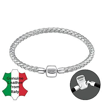 Plain - 925 Sterling Silver + Leather Cord Bead Bracelets - W31500X