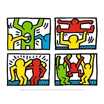 Pop Shop Quad eu 1987 Poster Print by Keith Haring (16 x 12)