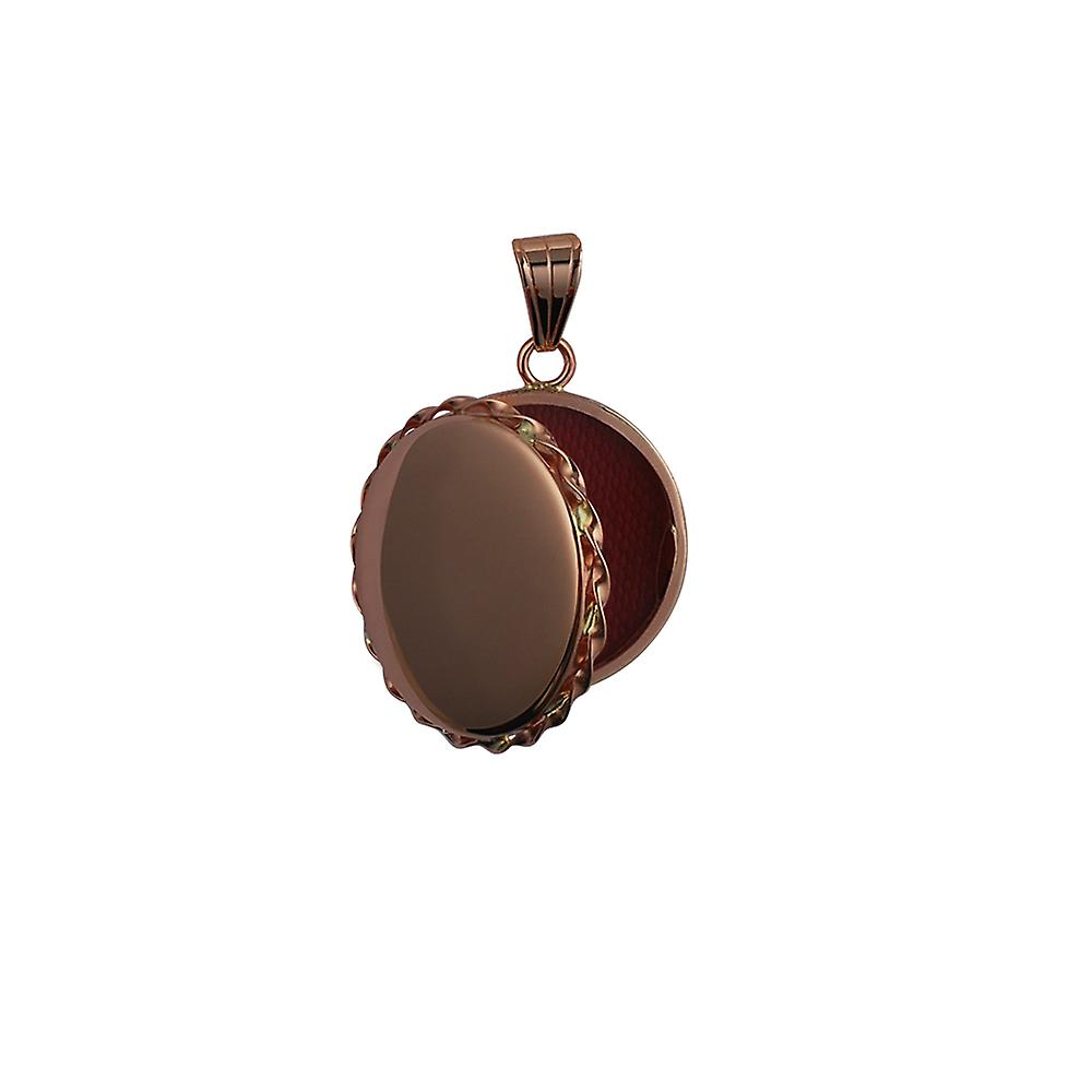 9ct Rose Gold 25mm plain twisted wire edge flat round Locket