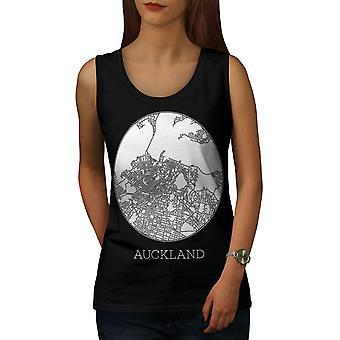 Auckland City Map Women BlackTank Top | Wellcoda