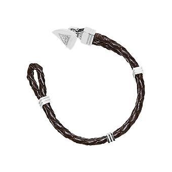 Gissning mens armband rostfritt stål läder svart UMB21517-S