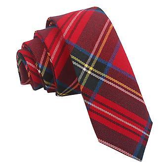 Röd Royal Stewart Tartan smal slips