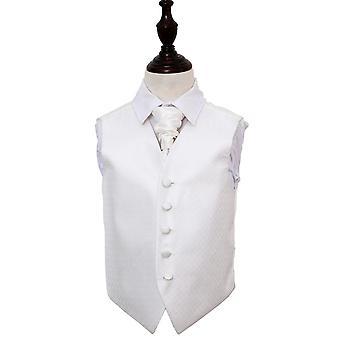 Colete de marfim casamento chave grego & Cravat conjunto para meninos