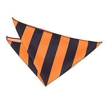 Orange & Black Striped Pocket Square