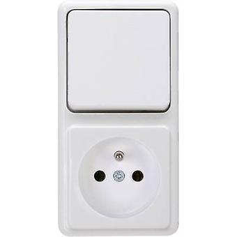 Combo de Kopp interruptor/enchufe estándar de montaje en superficie blanco ártico 109002004