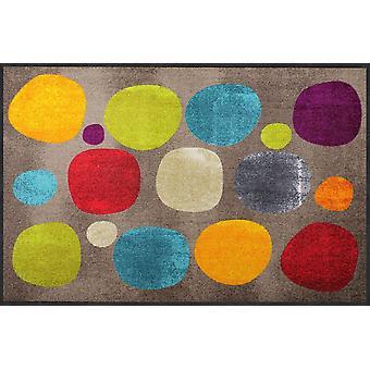 Paillasson lion salon des cercles mat de cassé points colorés 115 x 175 cm lavable saleté