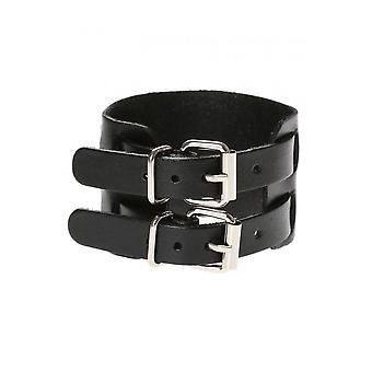 Attitude Clothing 2 Strap Faux Leather Wristband