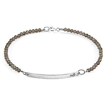Anchor & Crew Grey Smokey Quartz Purity Silver And Stone Bracelet