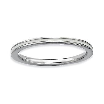 925 Sterling Silver Polished Stackable Expressions White Enameled 1.5mm Ring Jewelry Gifts for Women - Ring Size: 5 to 1