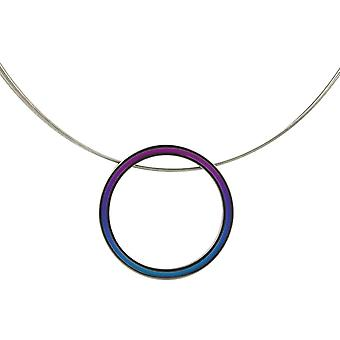 Ti2 טיטניום רטרו ענק ושרשרת כבל תיל-סגול/כחול