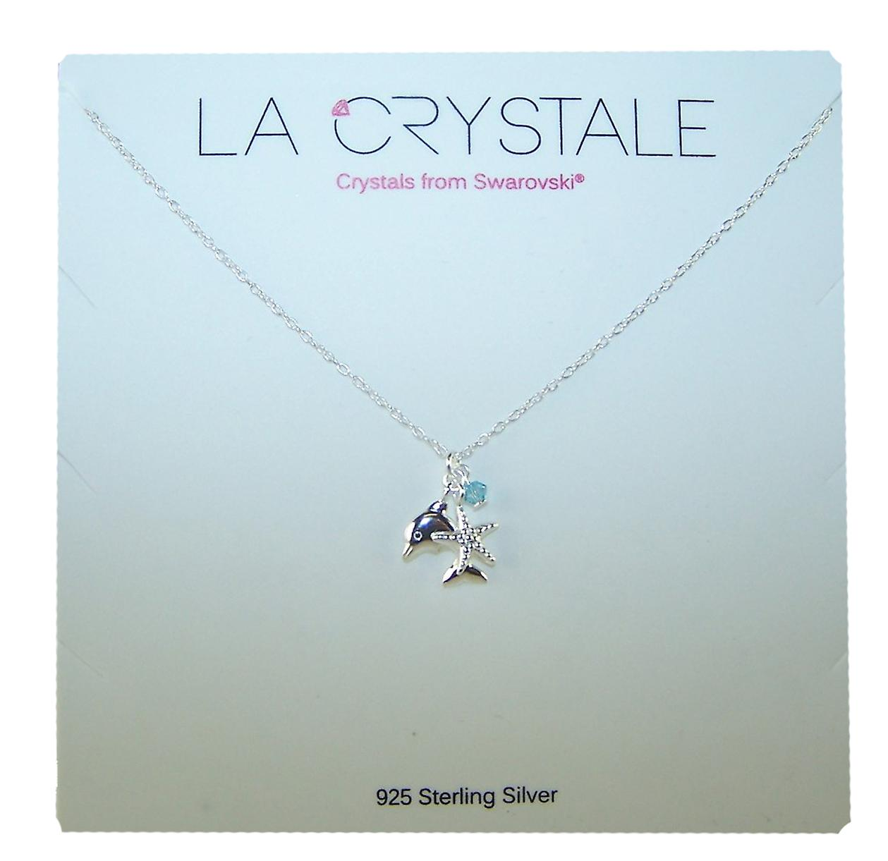 Girls sterling silver dolphin necklace with a crystal from Swarovski