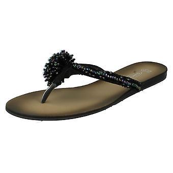 Ladies Spot On Beaded Toe Post Sandals