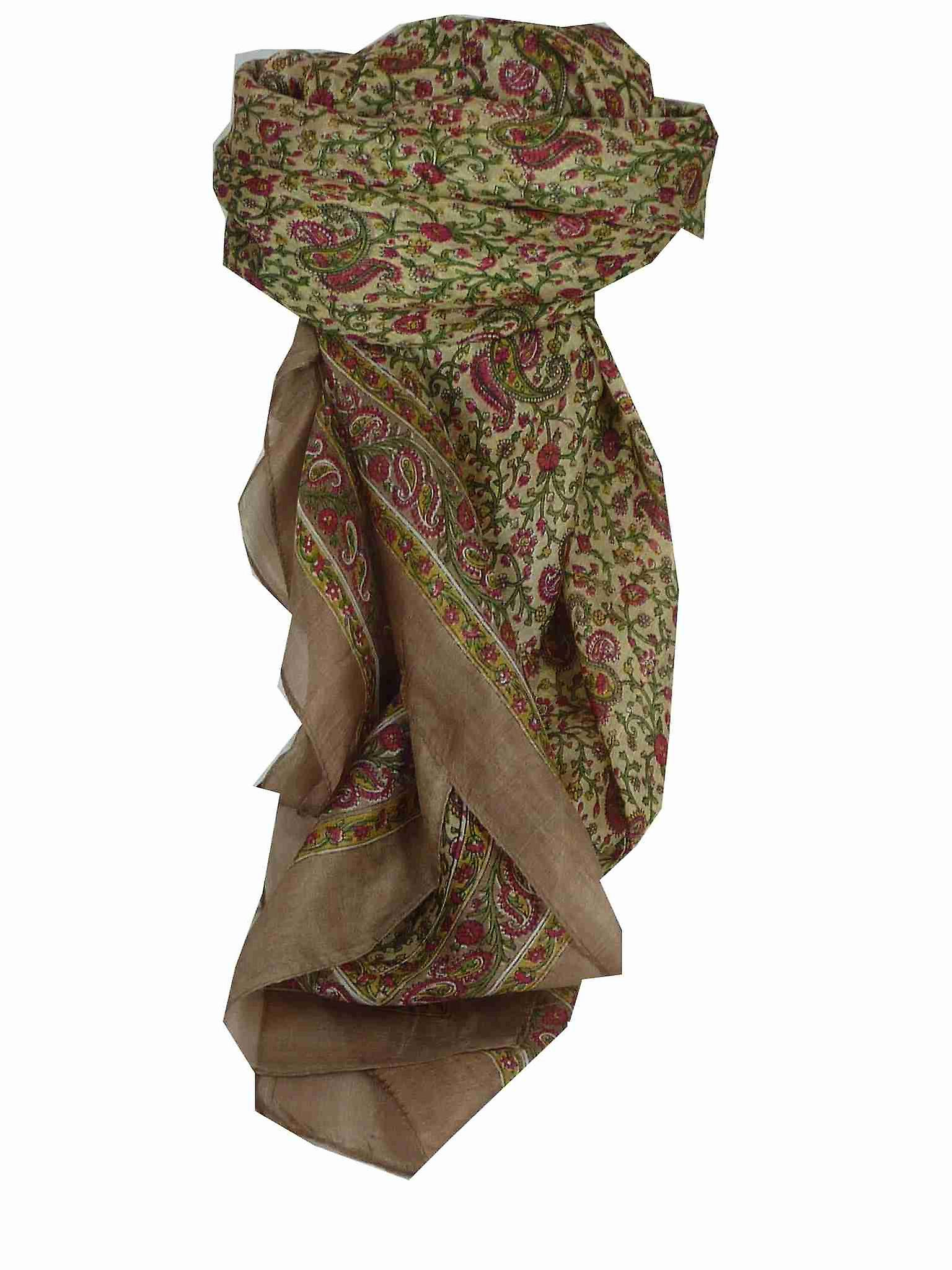 Mulberry Silk Traditional Square Scarf Zena Coffee by Pashmina & Silk