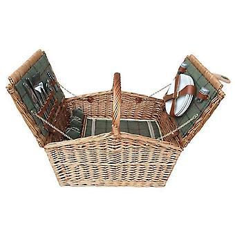 4 fő zöld Tweed Double Lidded szerelhető piknik kosár