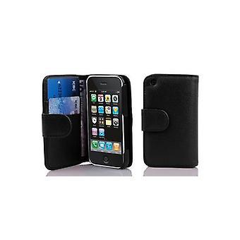 Cadorabo Veske til Apple iPhone 3 / iPhone 3GS i OXID BLACK - Mobiltelefon tilfelle i strukturert faux skinn med stativ funksjon og kortrom - Case Cover Beskyttende Case Case Bok Folding Stil