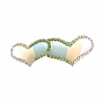 Valentinstag Geschenk w / Herz Hair Barrette Peridot Clear & Olivin Kristalle