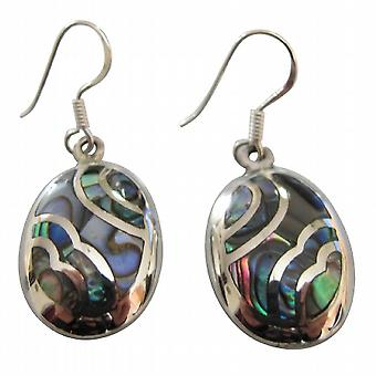 Abalone Shell Inlaid Sterling Silver 92.5 Stamped Earrings