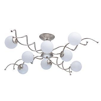 Glasberg - perla oro otto Semi-Flush luce con vetro bianco 306012808