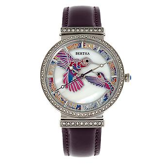 Bertha Emily Mother-Of-Pearl lederen-Band Watch - zilver/paars